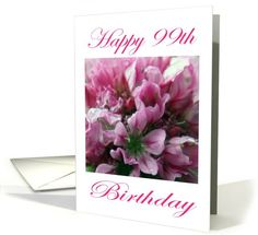 Happy #99 th #Birthday #Pink and #Green #Flower card #Bday
