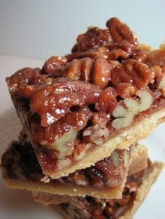Pecan Pie Bars -- these bars are like little pecan pies in a square - also has recipes for: Slutty Brownies, Oatmeal Creme Pies, Fleur de Sel Chocolate Chip Blondies,  Salted Nut Bars, Jam bars and Apple Crumb Squares