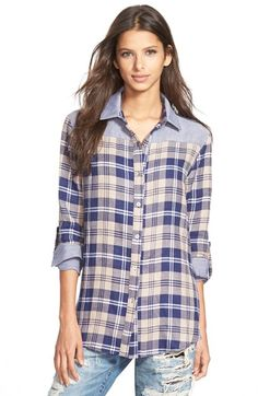 Free shipping and returns on 4SI3NNA Mixed Plaid Shirt at Nordstrom.com. Soft blue panels at the collar, yoke and cuffs add a fresh twist to a classic plaid flannel shirt. An inverted back pleat shapes the easy fit.