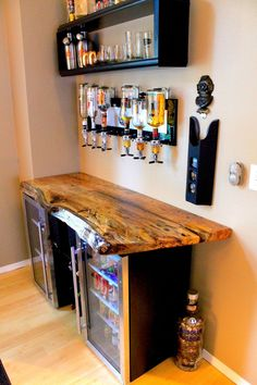Stainless Steel Back Bar Cooler Single door stainless steel bar coolers with live edge wood top.Single door stainless steel bar coolers with live edge wood top. Man Cave Home Bar, Home Projects, Interior, Home Bar Designs, Diy Home Bar, Home Decor, Bars For Home, Mini Bar, Home Diy