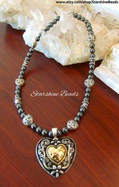 Hematite Hammered Heart Necklace by StarshineBeads on Etsy