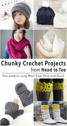 15 free chunky crochet patterns from head to toe! All patterns use Lion Brand Wool-Ease Think and Quick yarn. All are quick and easy projects that will keep you cozy all fall and winter!