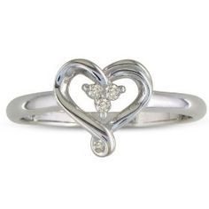 Three Stone Diamond Heart Shape Promise Ring in Sterling Silver ( Sizes 4-9), (jewelry, ring, band, gem avenue, rings, promise ring, joyas, polished finish, purity, purity ring)