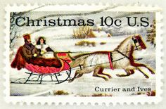 """Beautiful Christmas stamp USA 10c christmas stamp """"The Road-Winter"""" (1853, Litho by Currier & Ives, painting by Otto Knirsch) sleigh United States of America us 10c cent noel timbre États-Unis u.s. postage selo natal Estados Unidos sello navidad USA bolli 10c by stampolina, via Flickr"""