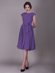 Cap Sleeved Vintage Bridesmaid Dress with Faux Buttons   Up to 15% off, plus FREE Custom Made! 10+ measurements required for a perfect fit, no matter what sizes you are in!