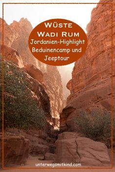 Naturliebhaber sollten bei einer Jordanien-Rundreise besser mehr Zeit im Wüstennationalpark Wadi Rum einplanen. Die Übernachtung im Beduinencamp ist ebenso reizvoll wie Jeeptouren durch die rote Sand- und Felslandschaft. Meine Erfahrungen und Tipps fürs Wadi Rum beim Jordanien-Roadtrip mit Kindern oder ohn. #reisen #roadtrip #rundreise #jordanien #wadirum #beduinencamp #jeeptour #erfahrungen #tipps #reisenmitkindern #familienurlaub #fotos Wadi Rum, Roadtrip, Image Categories, City, Nature, Movie Posters, Travel, Photos, Europe