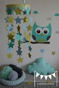 mobile étoiles turquoise vert anis gris décoration chambre enfant ...