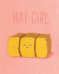 Funny Pun: Hay Girl - Humor