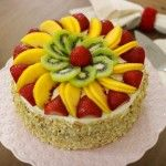 Fluffy Honey Layer Cake With Fruit and Almonds