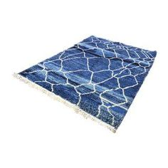 rug or wall hanging  Blue Beni Ourain Moroccan Berber Rug - 6′1″ × 8′2″