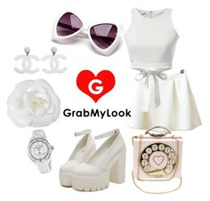 """GrabMyLook All White Outfit"" by grabmylook ❤ liked on Polyvore featuring Chanel"