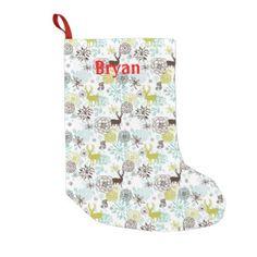 #Deer And Flowers Holiday Stocking - #Xmas #ChristmasEve Christmas Eve #Christmas #merry #xmas #family #kids #gifts #holidays #Santa