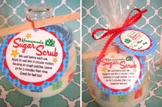 Package it up for gifting.            Sugar scrub with matching tags....