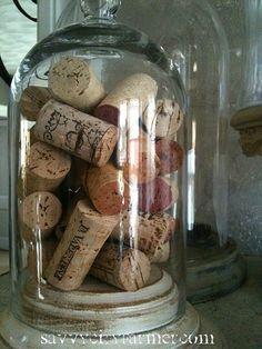 vintage cloche filled with corks  savvycityfarmer.com