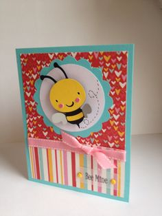 Valentine's day card Bee is from Cricut Create a Critter cartridge
