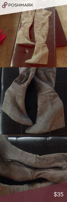 Gray Suede Thigh High Boots Size 8.5 Women's. Thigh high, over the knee style. Gray. In 9/10 condition. Worn twice. Very comfortable to walk in. Lux Shoes Over the Knee Boots
