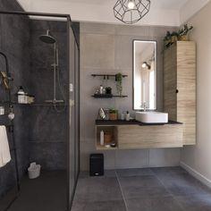 Une douche à l'italienne dans une salle de bains au style industriel Небольшая ванная Bathroom Styling, Bathroom Interior Design, Interior Design Living Room, Bad Styling, Walk In Shower, Industrial Style, Leroy Merlin, Home Decor, Decor Diy