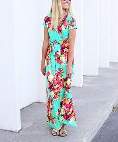 Look what I found on #zulily! Mint & Pink Floral Wrap Maxi Dress #zulilyfinds