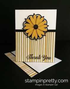 ORDER STAMPIN' UP! ON-LINE. Get it! Daisy Punch is back! Simple thank you card using Daisy Punch & Eastern Medallions Dies. 1000+ card ideas!