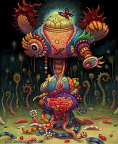 Yoko d' Holbachie  Inspired by popular culture in her native Japan and beyond,her paintings are at once vividly inviting and disturbingly dark. Candy colored creatures with wormlike tentacles travel through fantasy landscapes. Elements of Kawaii, Anime, Pop Art and Surrealism blend together in tightly rendered works that pull the viewer in with bright, cheerful energy and hold on with strange, complex elements.