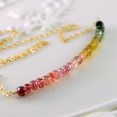 Tourmaline Necklace Coral Peach Yellow Green by livjewellery, $87.00