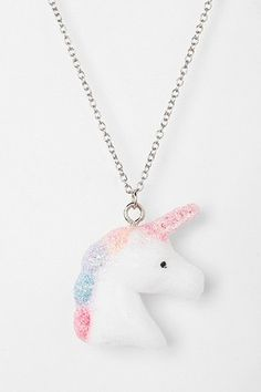 Urban Renewal Fuzzy Unicorn Necklace Online Only Real Unicorn, Unicorn Art, Unicorn Gifts, Cute Unicorn, Rainbow Unicorn, Unicorn Images, Unicorn Bedroom Decor, Unicorn Rooms, Unicorn Jewelry