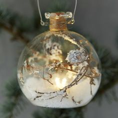 """A pair of layered, glass globes form this simple adornment for the tree.- Glass- Indoor use only- Imported4.7"""" diameter"""
