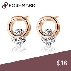 Floating Open Circle Stud Earring 18k Rose Gold Plated Earring, Round, 6.3834E+11 Diane Loren Jewelry Earrings