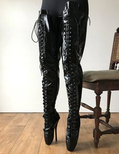 color: as shown or custom colormaterial: synthetic material MADE TO ORDER (NOT IN STOCK)- crotch high ballet boots- speed hooks and eyelets combined- side zip Black High Boots, Thigh High Boots, High Heel Boots, Heeled Boots, Ballet Heels, Ballet Boots, Crotch Boots, Beautiful High Heels, Rocker