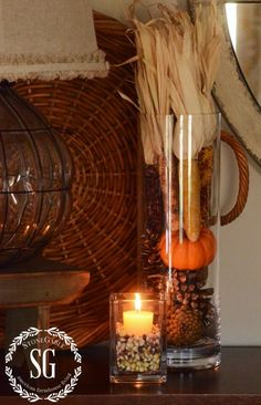 STONEGABLE FALL HOUSE TOUR; I like the tall glass cylinder, could use for all seasons, just change the contents