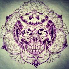 Purple abstract skull