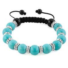 674742167 Bracelets - shamballa bracelet turquoise charm silver crystal disco balls  lace adjustable bead bracelets Image.