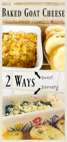 2 Ways to Bake Goat Cheese - sweet with candied fruit and nuts; savory with basil, garlic and parmesan. By The Spirited Thrifter Baked Goat Cheese, Goat Cheese Recipes, Candied Fruit, Appetizer Dips, Dip Recipes, Parmesan, Basil, Goats, Garlic