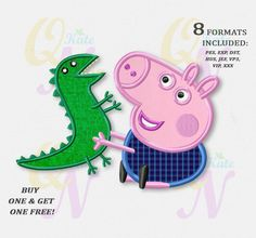BOGO FREE! George Pig applique embroidery design, Peppa Pig Machine Embroidery Designs, Embroidery designs baby, Instant Download, #035 by KateQuickNeedle on Etsy