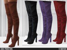 ShakeProductions' 752 - Wool High Heeled Boots Sims 4, The Sims, High Heel Boots, Heeled Boots, High Heels, Color Shorts, Flare Pants, Leather Jacket, Unisex