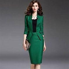 Green Suit Women, Formal Wear Women, Long Skirts For Women, Culottes, Skirt Suit, Work Attire, Skirt Outfits, Work Outfits, Work Wear