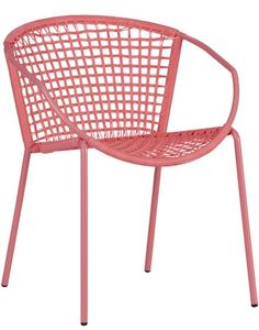 sophia hot pink dining chair  | CB2; Was $99.95, Now $49.99 (7/10/14); Designed by Jannis Ellenberger; Handwoven hot pink resin rattan; weather & UV-resistant; Iron tube frame with hot pink powdercoat finish; Outdoor-safe; cover or store indoors during inclement weather & when not in use; Stacks to store; Wipe to clean with soft, dry cloth; Made in China.