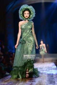 A model walks the runway during the Jean-Paul Gaultier Haute Couture Fall/Winter…