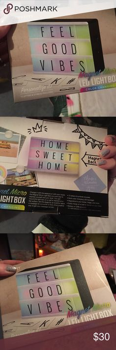 Unopened light box Unopened mini light box! Can make your own words/sayings! Lights up different colors! Very fun Accessories