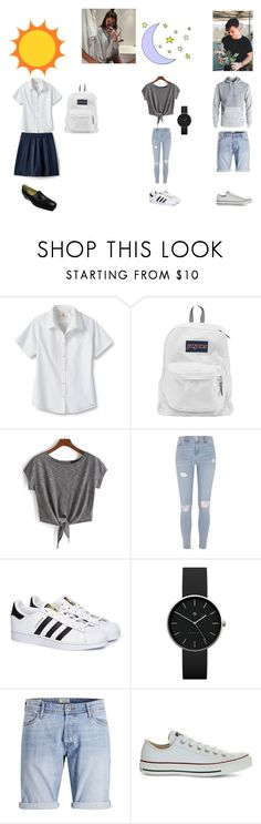 """""""Day 3 - Wednesday - School then movies with Grayson"""" by fayth-maddie-14-27-01-02 ❤ liked on Polyvore featuring Lands' End, JanSport, River Island, adidas, Newgate, Dolan and Converse"""