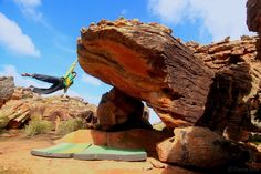 Niccolò Ceria climbing Sky, which he gave a personal grade of 8A+, in Rocklands, South Africa.