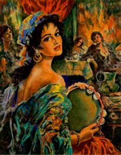 Paintings with Roma. Gypsy tambourine