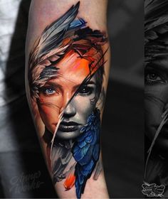Excellent simple ideas for your inspiration Colour Tattoo For Women, Face Tattoos For Women, Color Tattoo, Tattoos For Guys, Grey Tattoo, Modern Tattoos, Unique Tattoos, Beautiful Tattoos, Geometric Tattoos