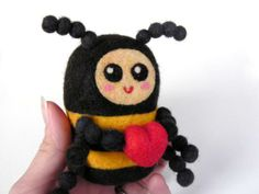 Felted bumblebee with heart tutorial