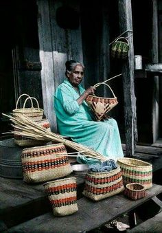 A  Choctaw Indian Woman making baskets from palmetto leaves near Lacombe, La.  in 1929. Classic Autochrome National Geographic Photography.
