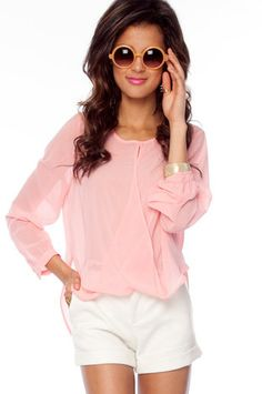 Let's Do the Twist Blouse in Pink $26 at www.tobi.com