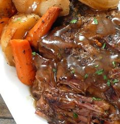 ingredients 1 chuck roast (mine was 3 pounds) Olive oil 1 pound carrots, peeled and cut into large chunks 2 pounds potato...
