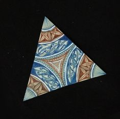 Another Triangle Tan Tile with Blue, Brown combo Pen Art, Blue Brown, Zentangle, Mumbai, Triangle, Tile, Meditation, Cards, Design