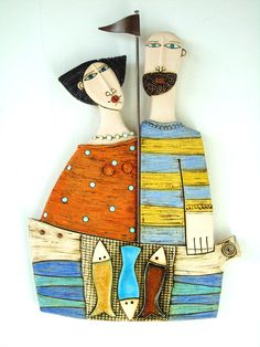 Husband and Wife Ceramic Sculpture Fine Art CeramicsWall