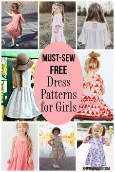 Free Must-Sew Dress Patterns for Girls - Sew Much Ado # Kids Dress Patterns Free Must-Sew Dress Patterns for Girls - Sew Much Ado Sewing Patterns Girls, Little Girl Dress Patterns, Kids Dress Patterns, Kids Clothes Patterns, Little Girl Dresses, Sewing For Kids, Free Sewing, Girls Dresses Sewing, Child Dress Pattern Free